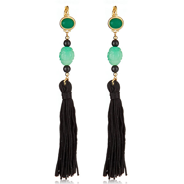 Jade Tassel Earrings by Kenneth Jay Lane