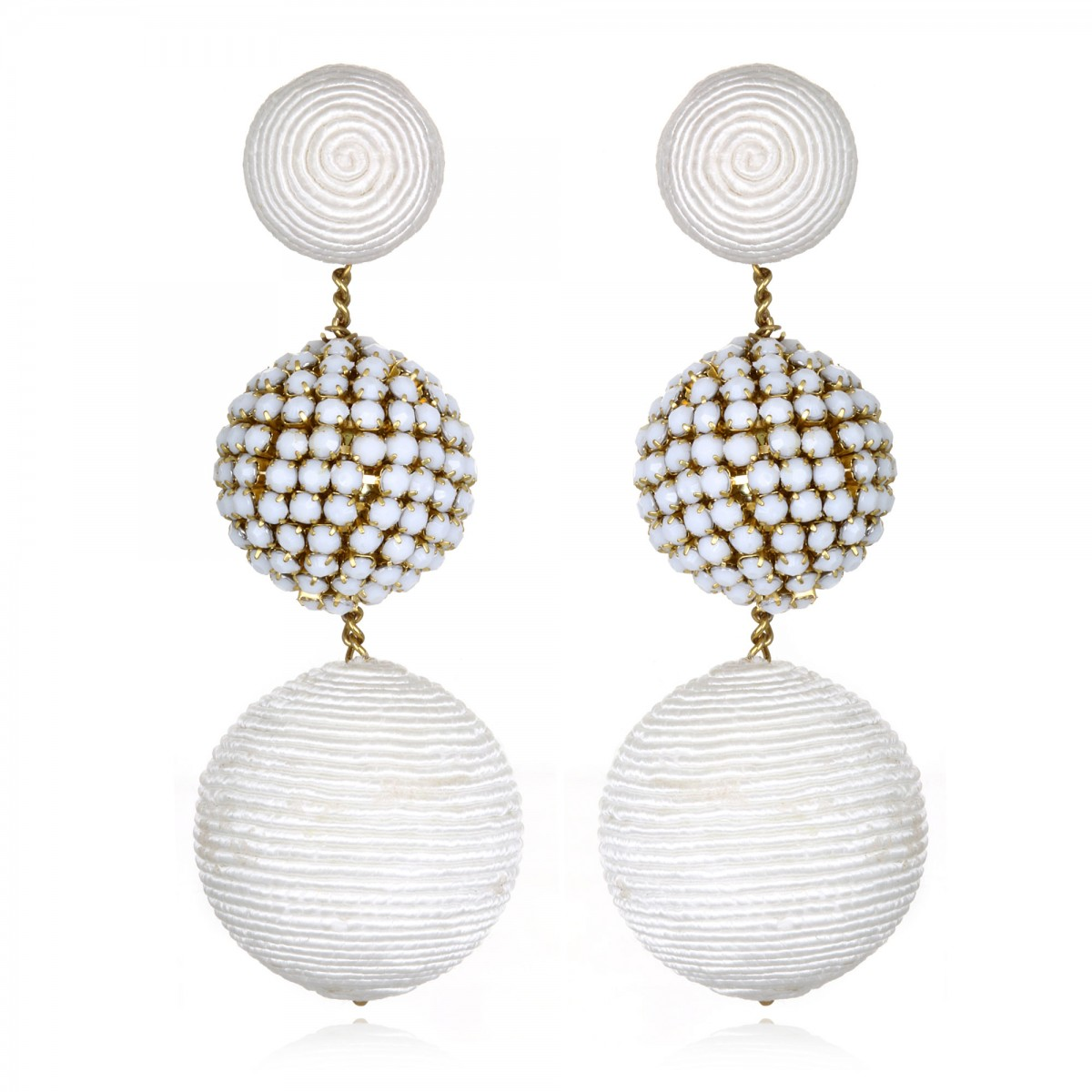 White Beaded Gumball Earrings by SUZANNA DAI