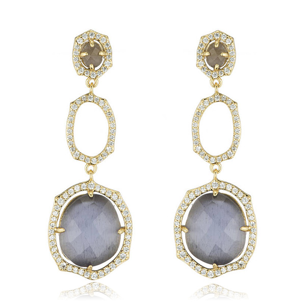 Lavender Oval Drop Earrings by MARCIA MORAN