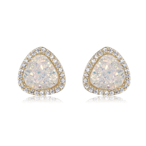 White Stud Druzy Earrings by MARCIA MORAN
