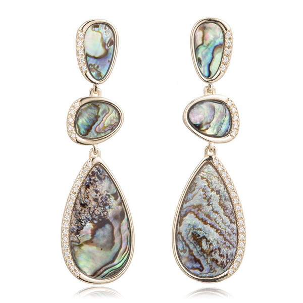 Abalone Dangling Earrings by MARCIA MORAN
