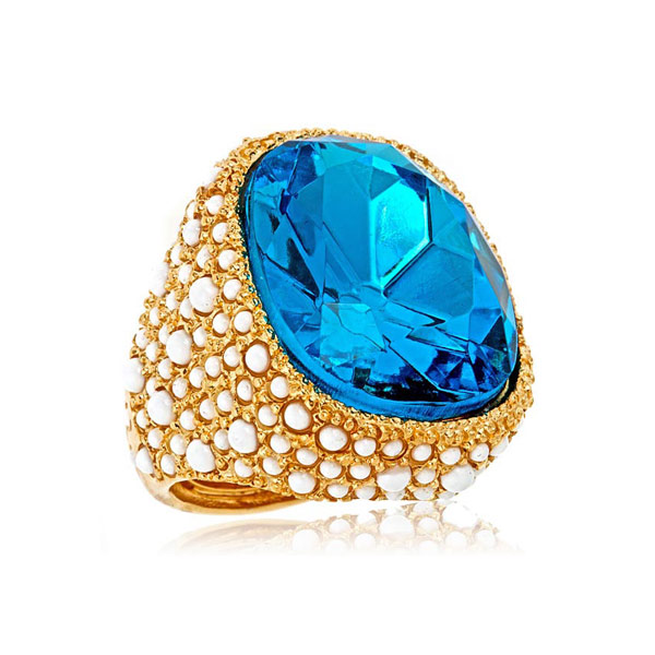 Aqua Cocktail Ring by KENENTH JAY LANE