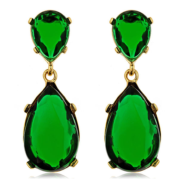 Kyle Gold Emerald Earrings by Kenneth Jay Lane