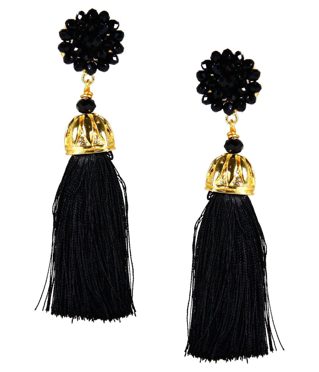 Landon Black Tassel Earrings by LISI LERCH