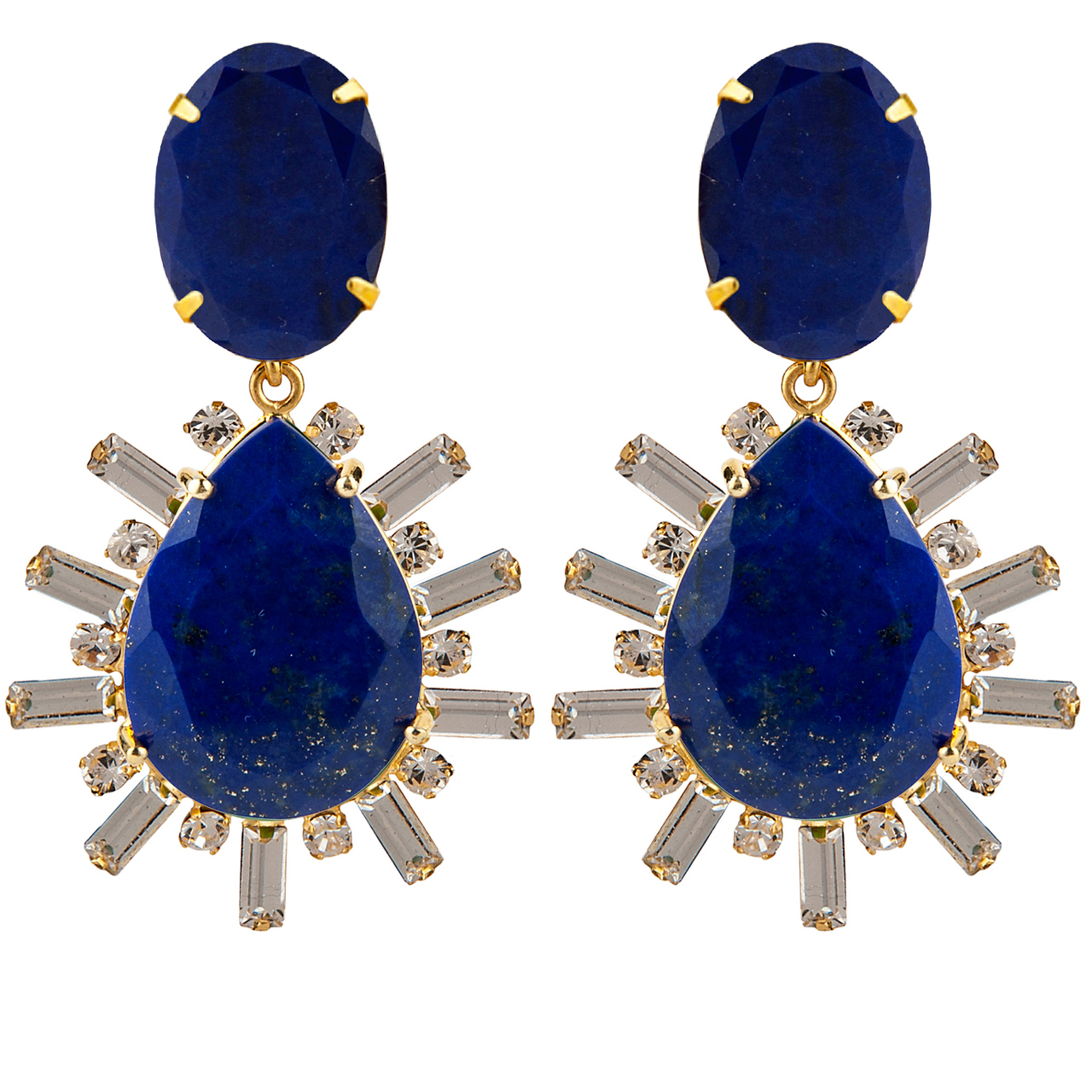 Lapis Champagne Earrings by BOUNKIT