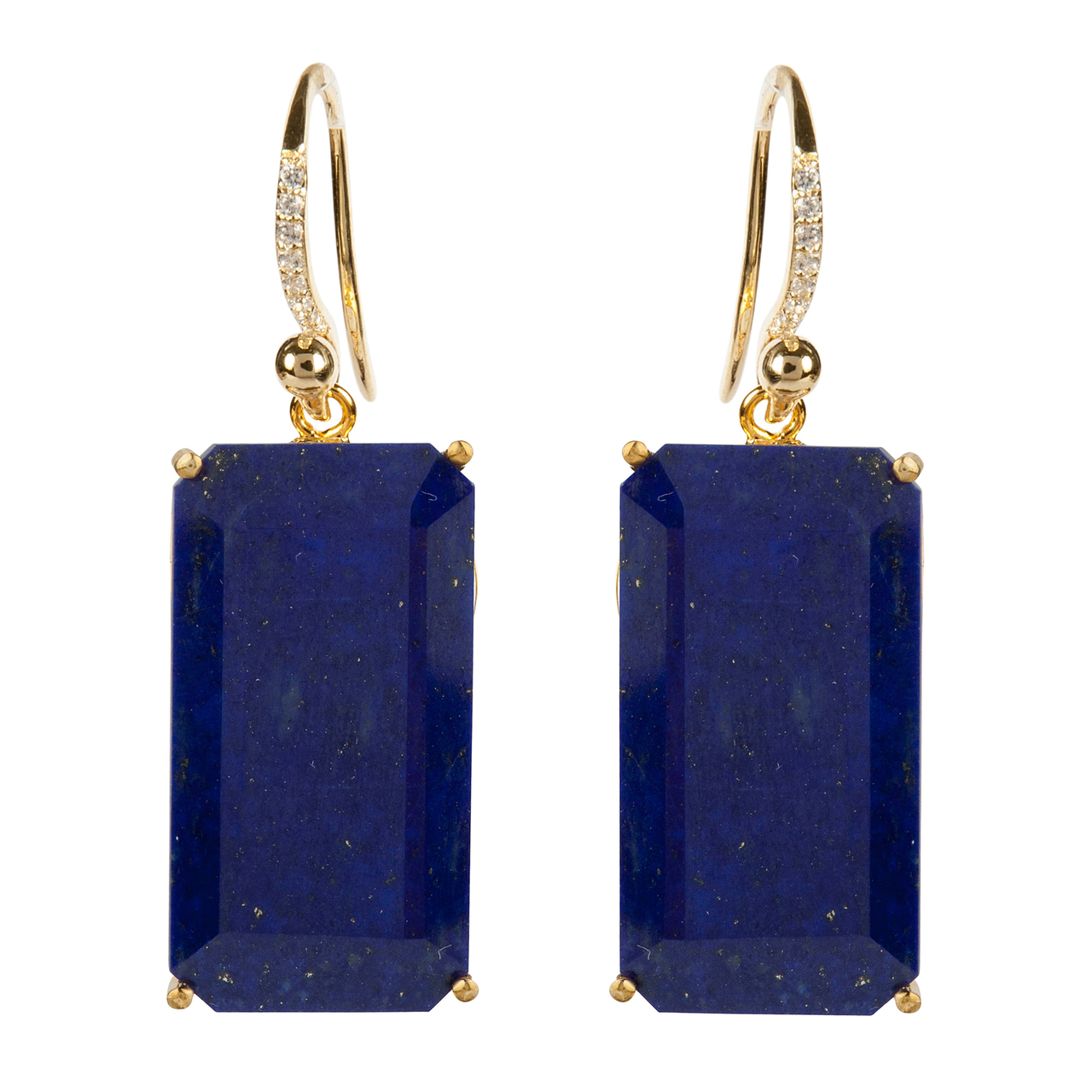 Lapis Fish Hook Earrings by BOUNKIT
