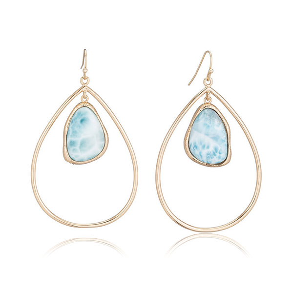 Larimar Blue Hoop Earrings by MARCIA MORAN