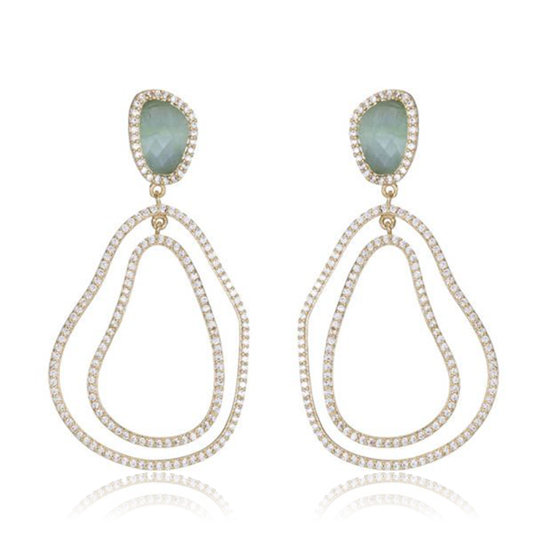Light Blue Chandelier Earrings by MARCIA MORAN