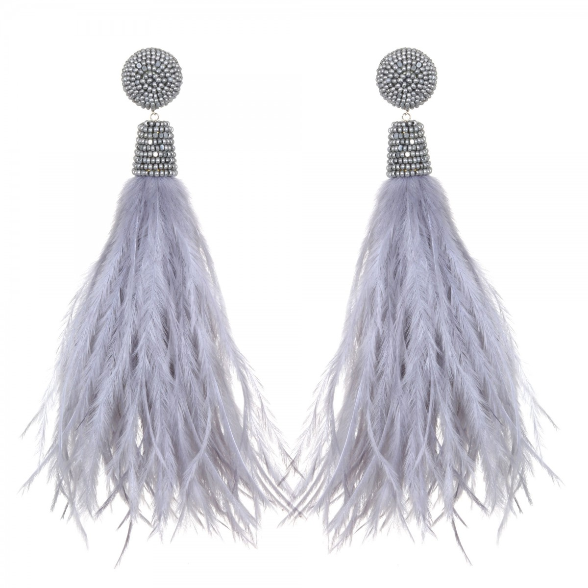 Light Grey Feather Earrings by SUZANNA DAI
