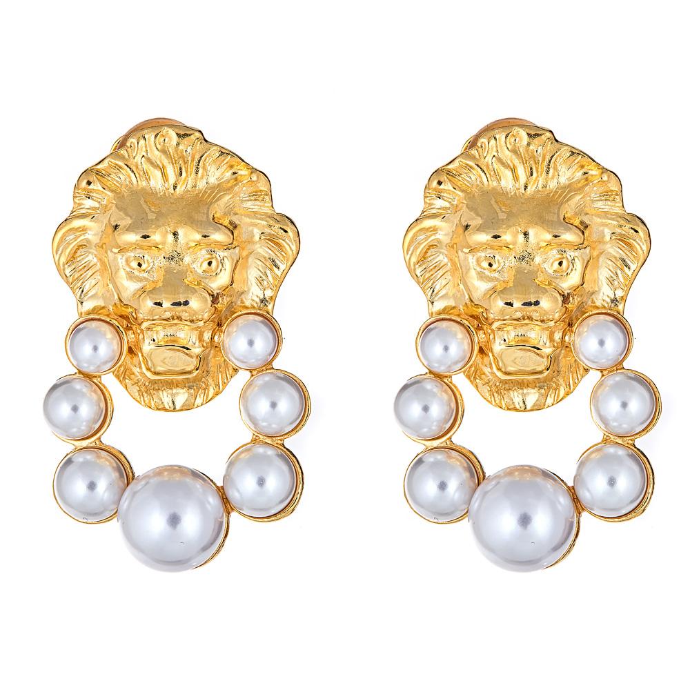 Lion Doorknocker Pearl Earrings by KENNETH JAY LANE