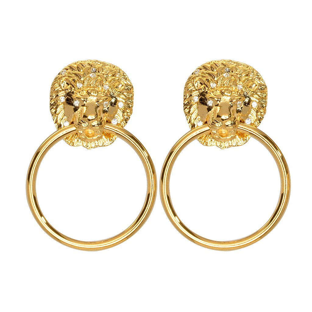 Lion Doorknocker Earrings by KENNETH JAY LANE