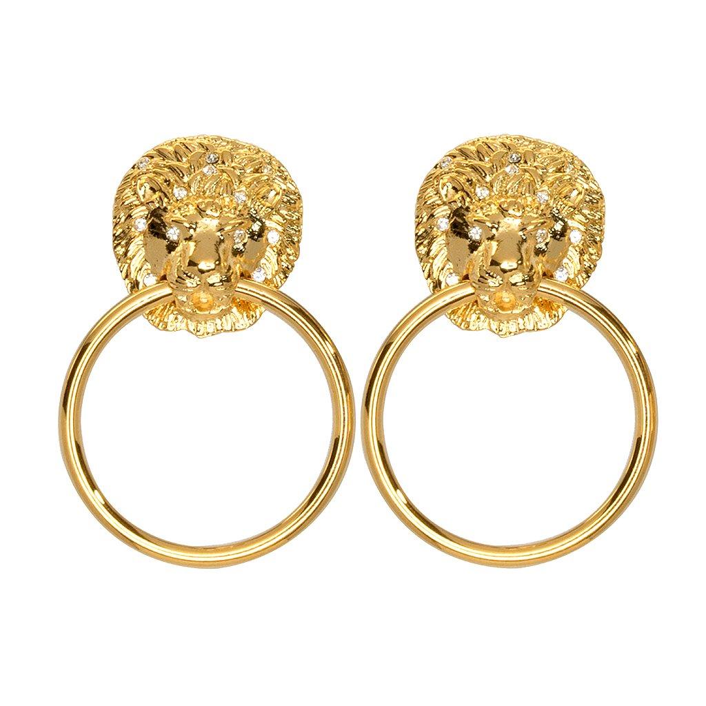 Lion Doorknocker Earrings by KENNETH JAY LANE