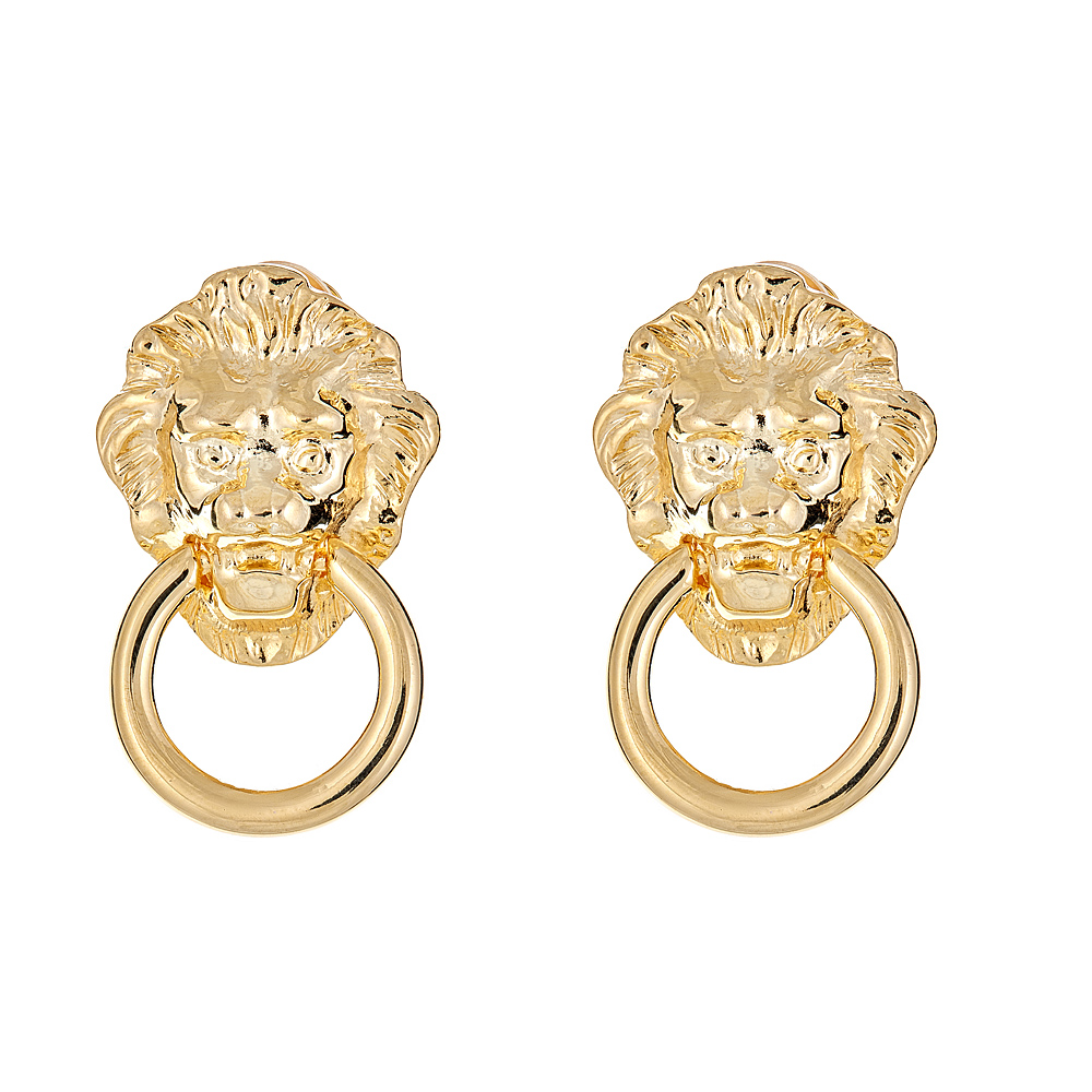 Lion Head Earrings by KENNETH JAY LANE