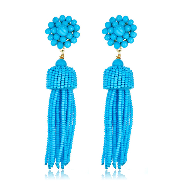 Lisi Turquoise Tassel Earrings by LISI LERCH