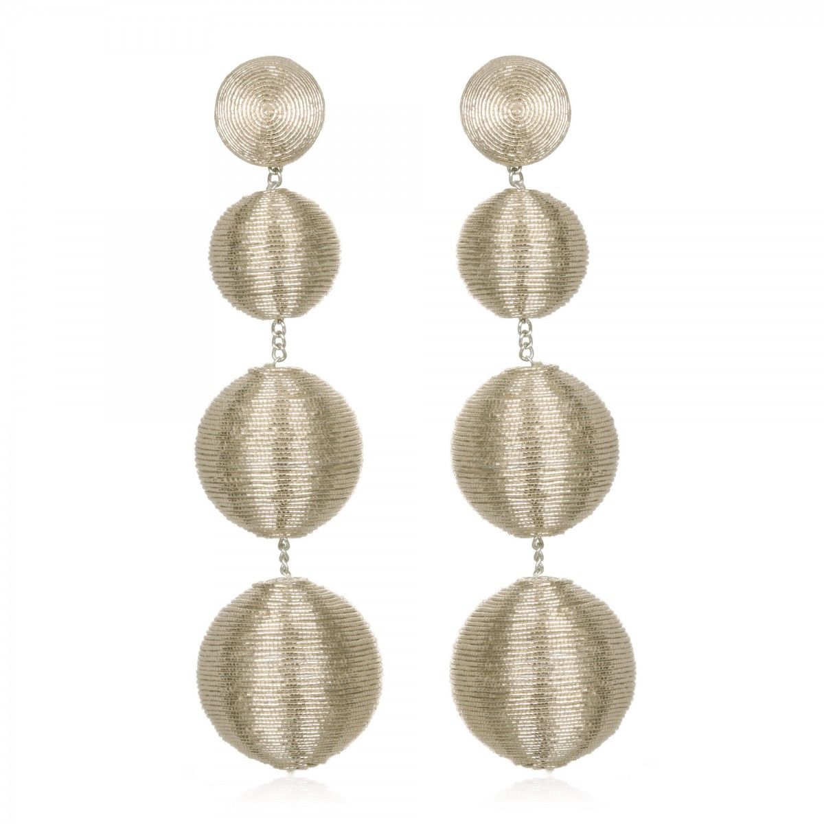 Metallic Silver BonBon Earrings by SUZANNA DAI
