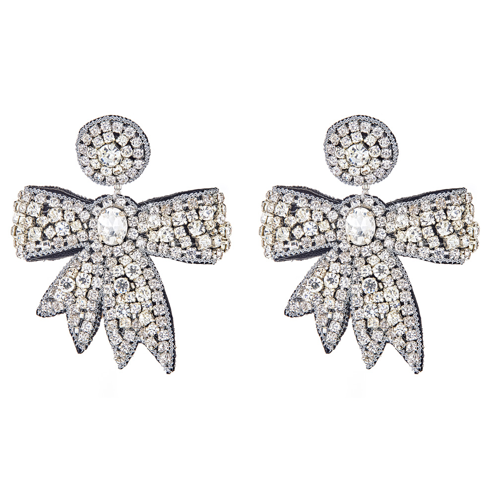 Mini Crystal Fifi Bow Earrings by FRENCH AND FORD