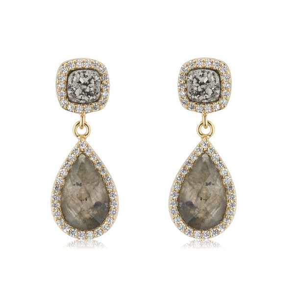 Druzy Labradorite Drop Earrings by MARCIA MORAN