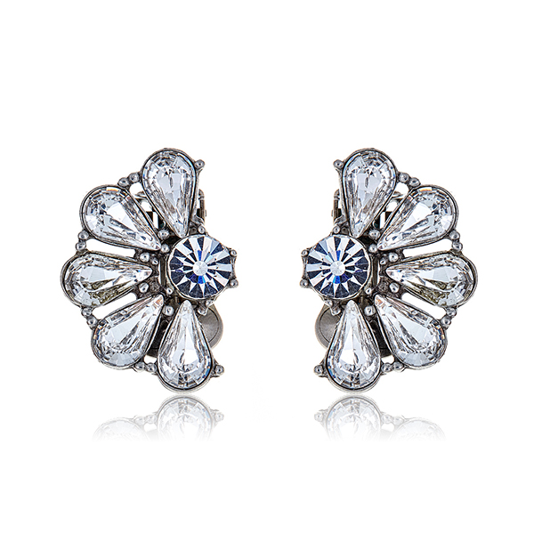 Mini Fan Crystal Earrings  by BEN-AMUN