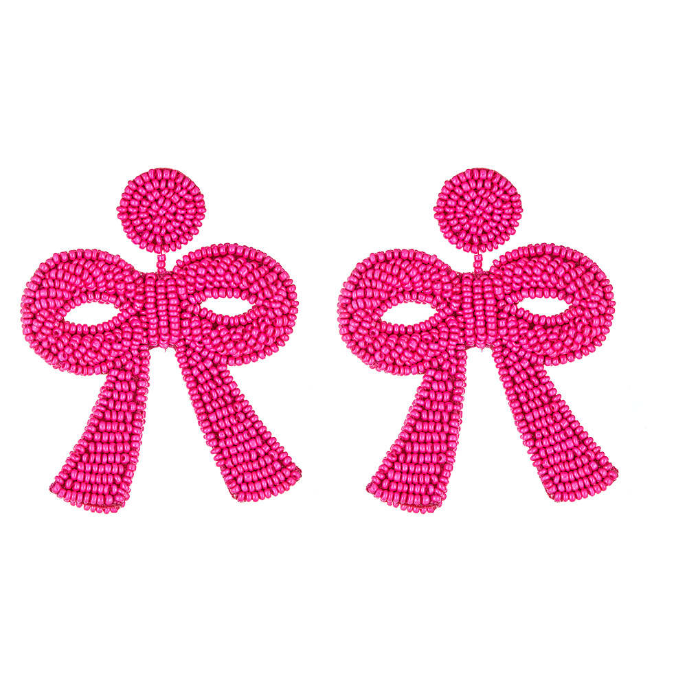 Mini Fifi Hot Pink Bow Earrings by FRENCH AND FORD