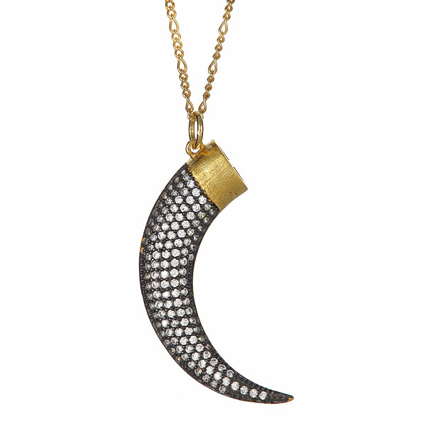 Mixmetal Pave Horn Necklace by Marcia Moran