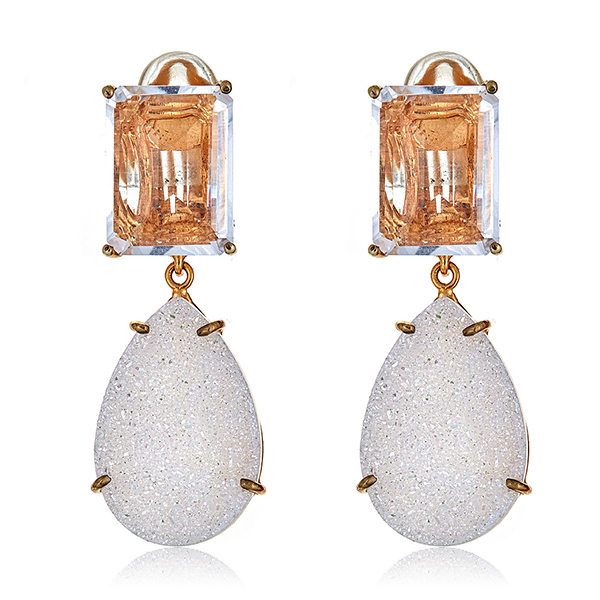 White Druzy Quartz Earrings by BOUNKIT