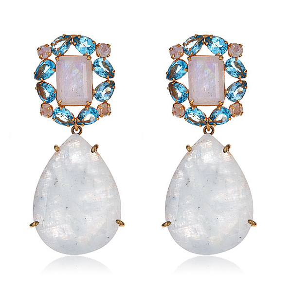 Moonstone Blue Quartz Earrings by BOUNKIT