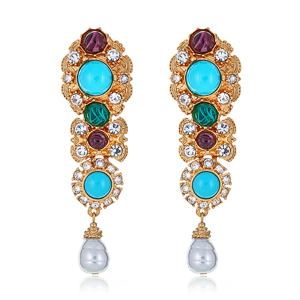 Multi Stone Pearl Earrings by BEN-AMUN