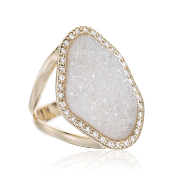 Natural Druzy Cocktail Ring by MARCIA MORAN