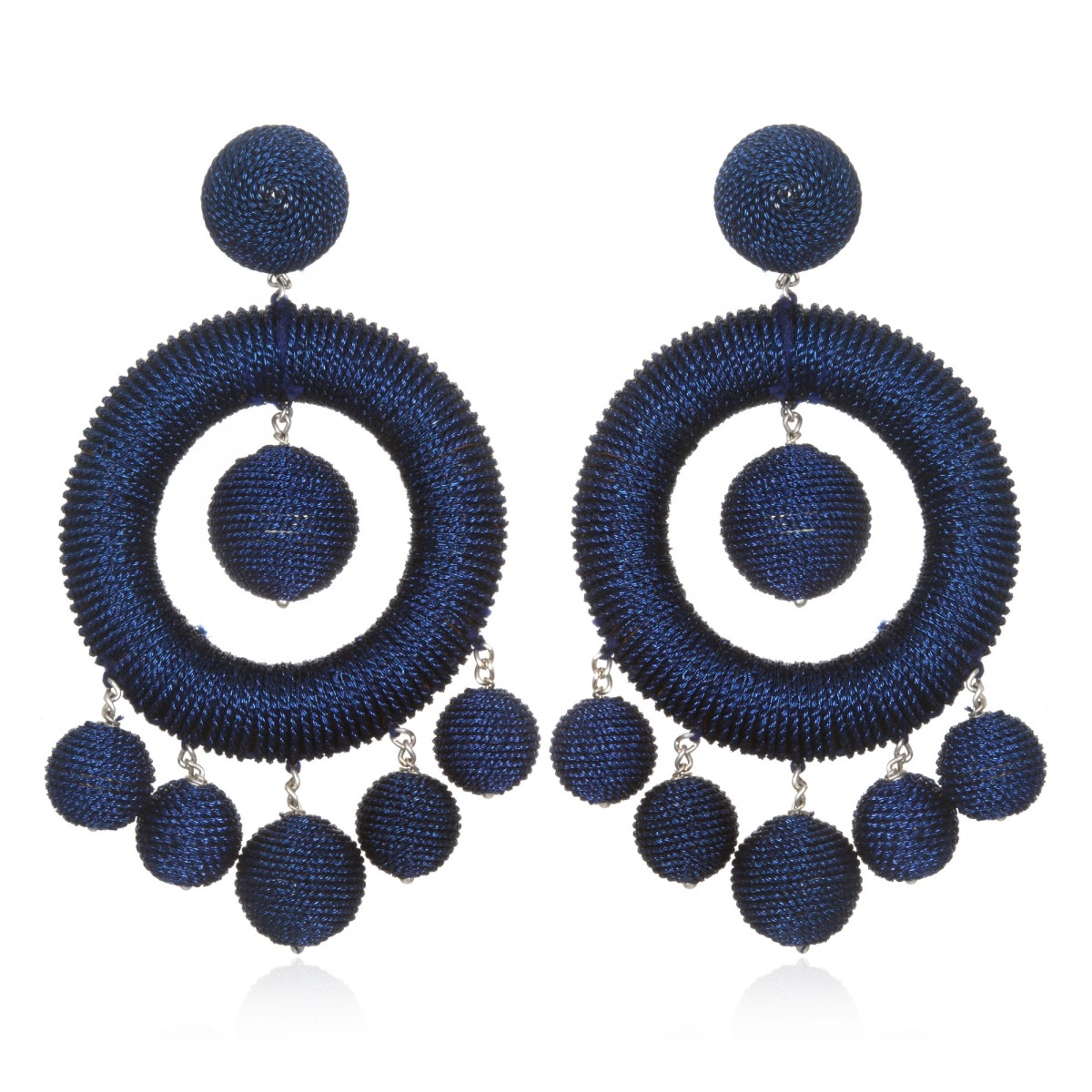 Navy Chandelier Hoop Earrings by SUZANNA DAI