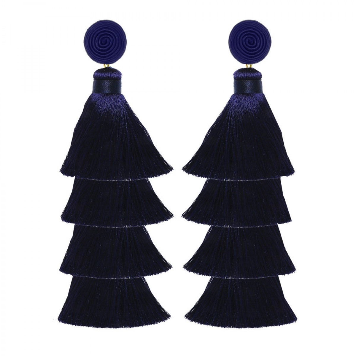 Navy Tiered Tassel Earring by SUZANNA DAI