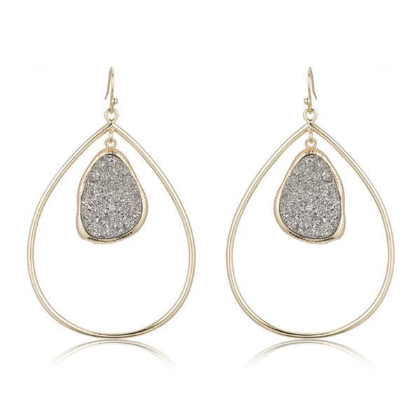NY Druzy Drop Earrings by MARCIA MORAN
