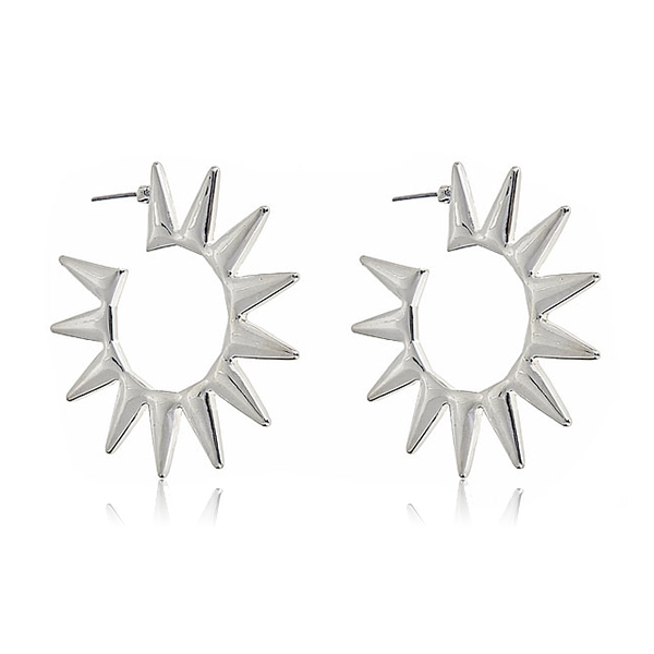 Silver Spike Hoop Earrings by KENNETH JAY LANE