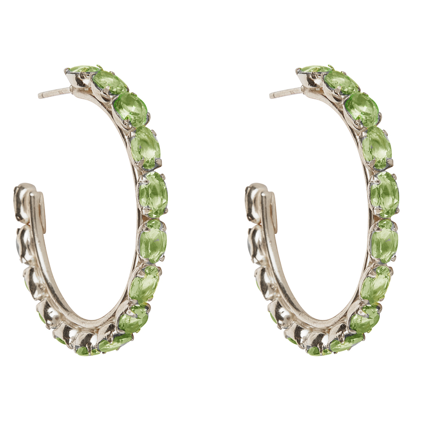 Peridot Rhodium Hoop Earrings by BOUNKIT