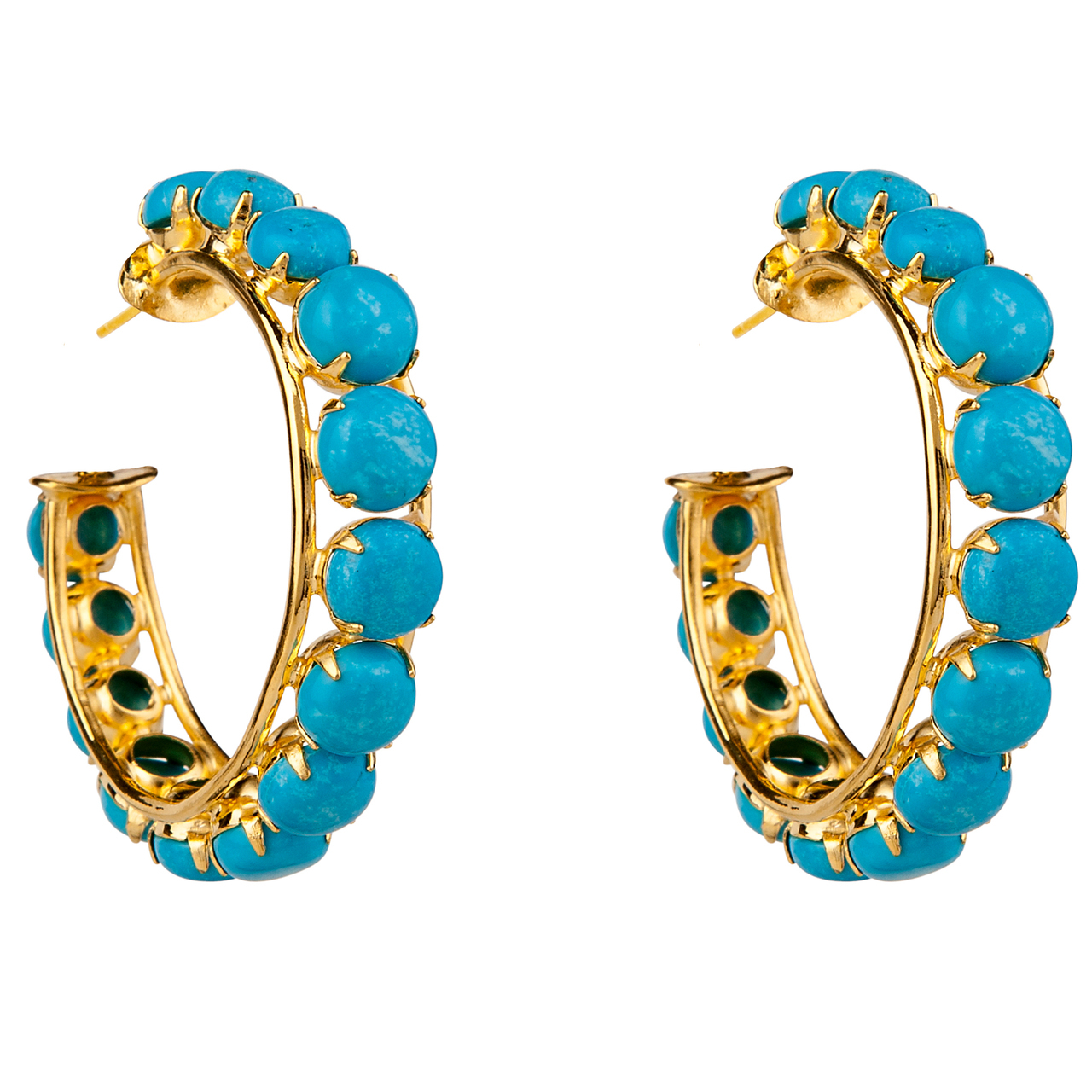 Turquoise Round Cut Hoops by BOUNKIT