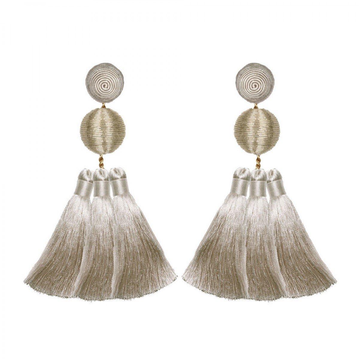 Triple Tassel Grey Earrings by SUZANNA DAI