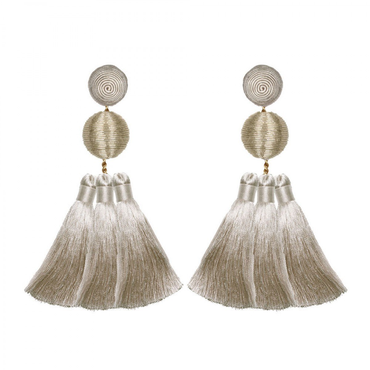 Triple Tassel Grey Earrings by SUZANNA DAI