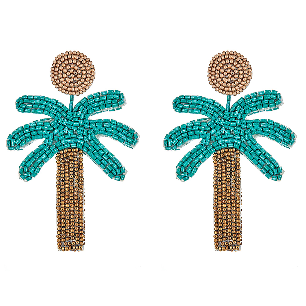 Palm Tree Beaded Earrings by KENNETH JAY LANE