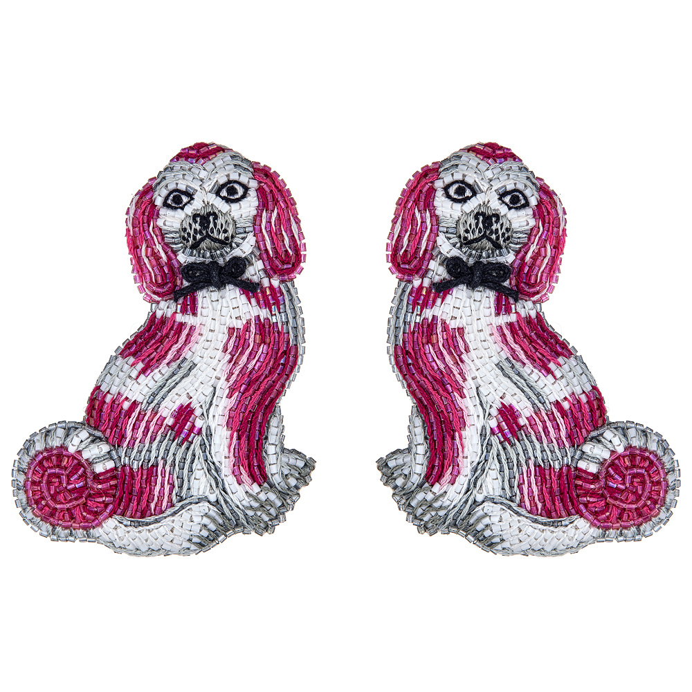 Patti PInk Spaniel Earrings by FRENCH AND FORD