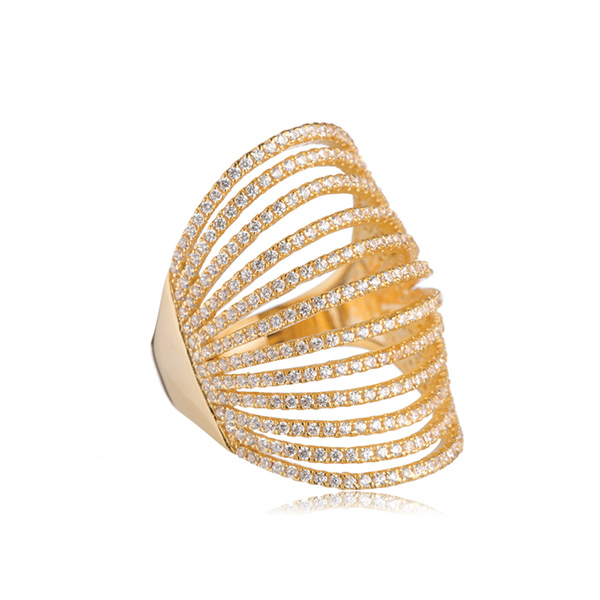 Pave Gold Knuckle Ring by MARCIA MORAN