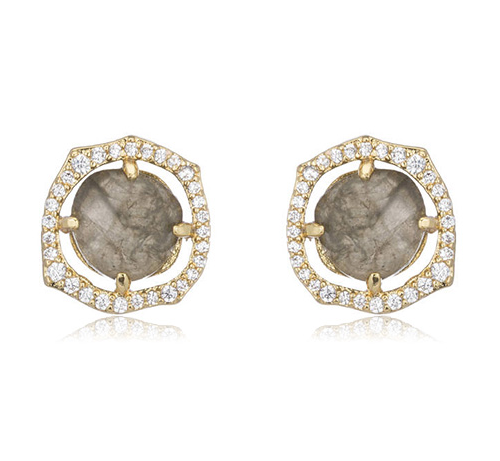 Pave Labradorite Stud Earrings by MARCIA MORAN