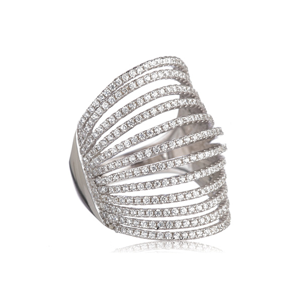 Pave Silver Knuckle Ring by Marcia Moran