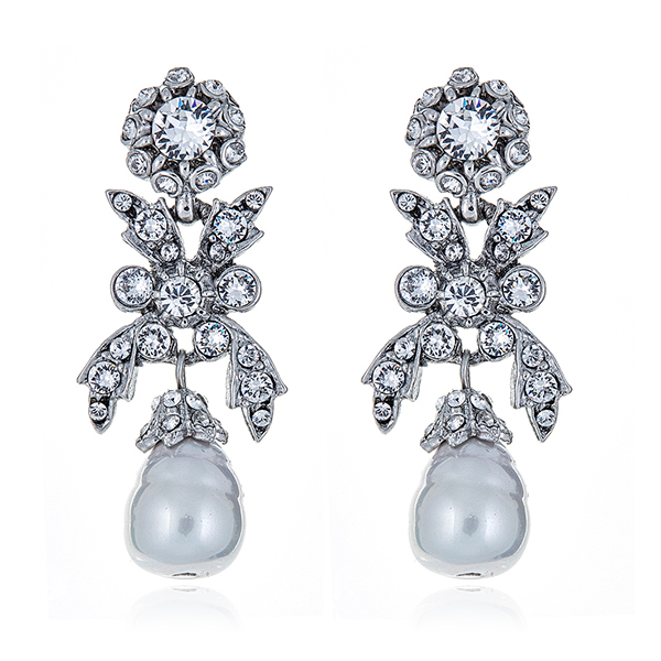 Pearl Crystal Bow Earrings by BEN-AMUN