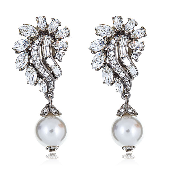 Pearl Crystal Cluster Earrings by BEN-AMUN