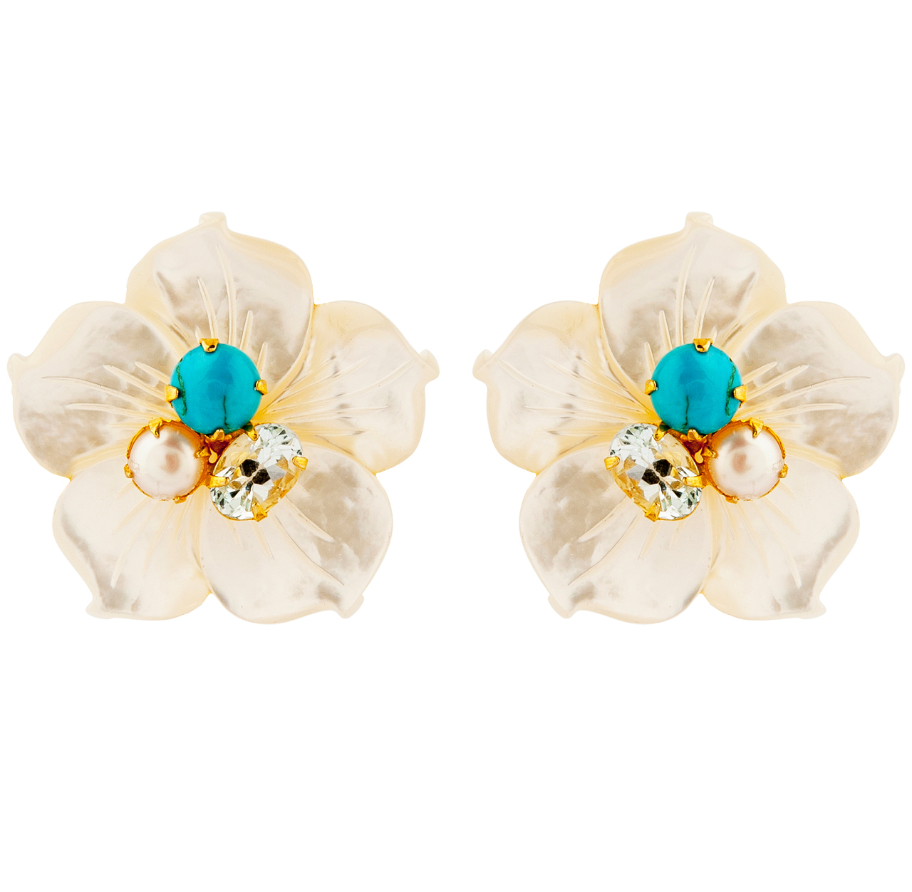 Pearl Flower Petal Earrings by BOUNKIT