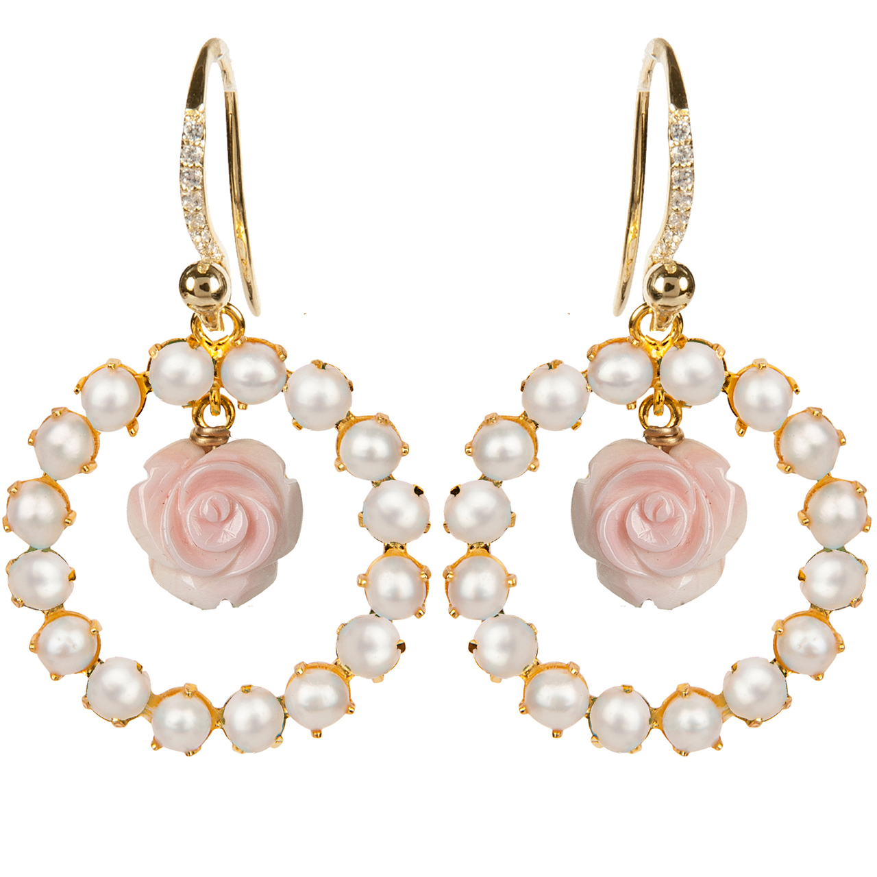Pearl Pink Flower Earrings by BOUNKIT