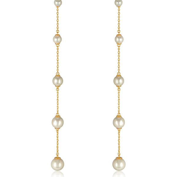Pearl Shoulder Duster Earrings by MELINDA MARIA
