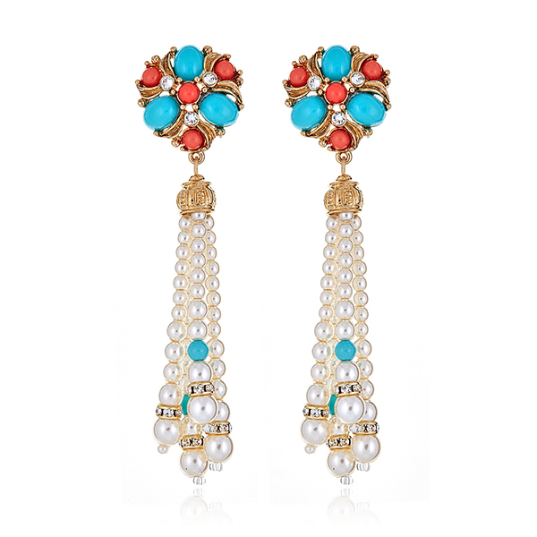 Pearl Tassel Cab Earrings by BEN-AMUN