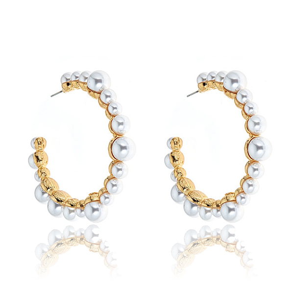 71a11d486 Kenneth Jay Lane Pearl Hoop Earrings | HAUTEheadquarters