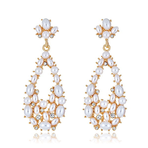 Pearl Teardrop Crystal Earrings by KENNETH JAY LANE