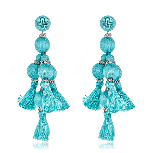 Seafoam Bead Tassel Earrings by SUZANNA DAI